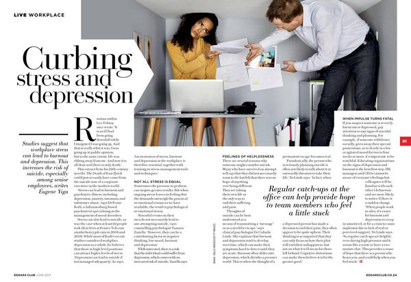 Curbing stress and depression Edgars Club Magazine June 2017